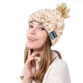 Wireless Bluetooth Women Warm Knitted Beanie Pompon Hat