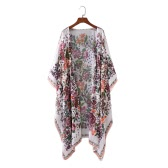 New Women Chiffon Kimono Cardigan Floral Print Asymmetric Boho Loose Outerwear Beachwear Bikini Cover Up White
