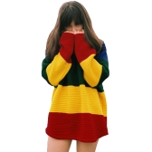 Trendy Contrast Rainbow Color Long Sleeve Slouchy Pullover Sweater