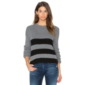 New Women Knitted Sweater Striped Color Block Long Sleeve Casual Warm Jumper Pullover Knitwear Grey