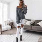 New Fashion Winter Women knitted Sweater V Neck Long Ruffles Flare Sleeve Knitwear Pullover Black/Grey/White