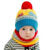 New Cute Baby Girl Boy Knitted Hat Scarf Set Car Pattern Fleece Warm Cap Neck Warmer Two-Piece Set