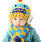 Cute Winter Thicken Warm Kintted Hat Plaid Scarf for Toddlers Baby Boy and Girl