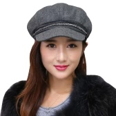 New Winter Women Woolen Hat Beading Mesh Lining Solid Color Warm Cap Black/Light Grey/Grey