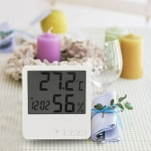 White Digital Thermometer Hygrometer Clock Temperature Humidity Meter Calendar Maximum Minimum Value Display