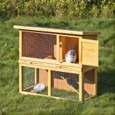 "iKayaa Multi-use Wooden Chicken Coop 35"" Hen House with Run Waterproof Wood Rabbit Hutch Pet Poultry Cage"