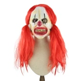 Latex Full Face Scary Toothy Clown Mask with Red Twin Tail Hair Elastic Tape for Halloween Masquerade Costume