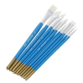 10Pcs Different Shape White Nylon Hair Paint Brush Set Blue Wooden Handle Water Color Gouache Acrylics Oil Painting Tool
