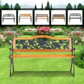 "iKayaa 49.6"" Cast Iron Wood Outdoor Patio Bench Garden Bench Backyard Lawn Chair"