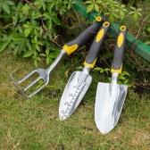 3pcs Aluminum Garden Tool Set Transplanter + Trowel + Rake for Lawn Gardening Hand Tools Yard Gadgets with Ergonomic Handles