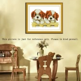 DIY Handmade Needlework 3D Cross Stitch Set Embroidery Kit 11CT Precise Printed Lovely Dogs Pattern Cross-Stitching Home Decoration