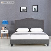 iKayaa Antique Full Sized Tufted Linen Wingback Bed Frame With Wood Slats Sponge Padded Upholstered Platform Bed Frames Grey 200KG Capacity for 137*190 Mattress