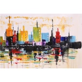 Unframed Hand Painted Abstract Oil Painting Set Modern City Picture Canvas Paint Wall Art for Living Room Decoration