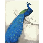 DIY Unframed Oil Painting by Numbers Kit Hand Painted Picture Handwork Acrylic Paint Blue Peacock Pattern Decoration for Home Living Room Bedroom Office Art Paintings 16*20""
