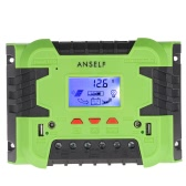 Anself 50A/60A 12V 24V LCD Solar Charge Controller Panel Battery Regulator Auto Switch Overload Protection Temperature Compensation Dual USB & DC