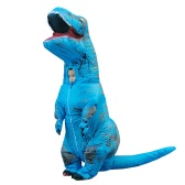 Funny Inflatable Dinosaur Trex Costume Suit Air Fan Operated Blow Up Halloween Cosplay Fancy Dress Animal Costume Jumpsuit--Blue, Child