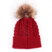 Fashion Fall Winter Warm Elastic Ball Bobble Head Skull Cap Knit Knitted Wool Crochet Beanie Ski Blank Color Hats for Women Lady Girl Kid