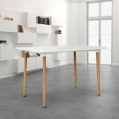 iKayaa Modern Rectangle Dining Table Metal + MDF Dinette Kitchen Table Furniture120KG Capacity