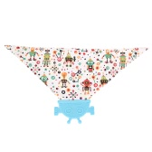 Comfortable Soft Baby Silicone Saliva Pocket Feeding Teethers Bibs BPA Free Infant Toddlers Cotton Teething Towel Cute Robot-shaped Cartoon Style