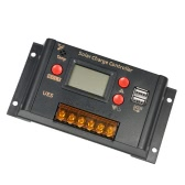 Anself 10A 12V 24V LCD Solar Charge Controller Panel Battery Regulator Auto Switch Dual USB 5V Output Overload Protection