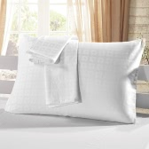 "2pcs/set Cotton Pillow Case White Check Pattern Pillow Slip Well-made Soft Pillowcases Plaid Pattern Pillow Slipcover with Hidden Zipper Closure--Standard Size 20""*26"""