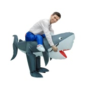 Adult Inflatable Costume Shark Cosplay Prop Rider Carry On Animal Fancy Dress Costume Inflatable Animal Costume for Festival Party Gala Parade Halloween Carnival Party
