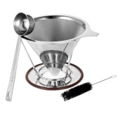 Pour Over Coffee Maker 304 Stainless Steel Reusable Coffee Filter Cone Dripper with Stand and Coffee Scoop Plus Cleaning Brush