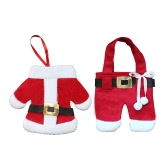 3 Sets of Christmas Santa Suit Coats Pants Style Cutlery Holders Fork Knife Spoon Bags Pocekts Set Christmas Decor Oranments