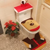 3pcs/set Christmas Bathroom Decorations Toilet Seat Cover + U-shaped Rug + Tank Lid & Tissue Box Cover Set Christmas Ornaments--Reindeer