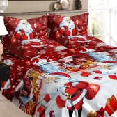 Christmas Santa Bedding Set Polyester 3D Printed Duvet Cover + 2pcs Pillowcases + Bed Sheet Set Christmas Bedroom Decorations--Twin Size