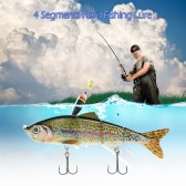 "Lixada 120mm 17g 4.72"" 4 Segments Multi-Jointed Hard Fishing Lure Life-like Swimbait Crank Bait 2 Treble VMC Hooks"