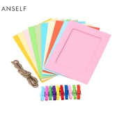 Anself 10pcs/set Fashion DIY Hanging Paper Photo Frame 10 Different Solid Color Picture Frames with 2 Meters Hemp Rope and Colorful Mini Clothespins