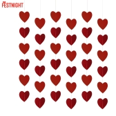 Festnight Luxury Large Size 6 * 8ft Red Heart String DIY Decorations for Valentines Day Engagement Wedding Party Backdrop Decor Supplies