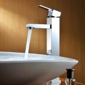 Homgeek High-quality Modern Deck Mount Single Lever Bathroom Basin Sink Brass Faucet Mixer Tap Chrome Finish Home Hotel