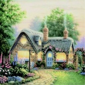DIY Handmade Full Diamonds Embroidery Painting Set Rural Cottage Diamond Pasted Cross Stitch Mosaic Home Decoration 30 * 30cm