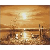 DIY Unframed Oil Painting by Numbers Kit Hand Painted Picture Handwork Acrylic Paint Sunny/Sunset Beach Pattern Decoration for Home Living Room Bedroom Office Art Paintings 16*20""