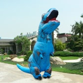 Funny Inflatable Dinosaur Trex Costume Suit Air Fan Operated Blow Up Halloween Cosplay Fancy Dress Animal Costume Jumpsuit--Blue, Adult