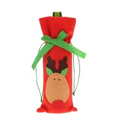 Festnight 1PC Red Wine Bottle Cover Bag Christmas Dinner Table Decoration Home Party Decor Elk