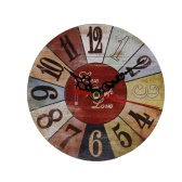 European-style Originality Retro Art Clock for Home Wall Vintage Material Round Digital Dial Alarm Clock