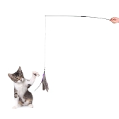 Interactive Detachable Pet Cat Feather Teaser Wand Stick 2 Section Exercising Fun Playing Toy with 1 Feather Refill