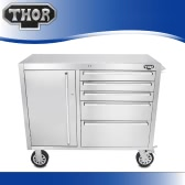 THOR HTC4112W-2  High-end Good Quality Anti-fingerprint Stainless Steel Rolling Tool Chests 41 Inch 5 Drawers Tool Box Excellent Tool Storage Box Bottom Cabinet with Casters