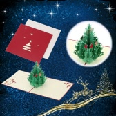 3D Handmade Folding Christmas Card Pop Up Kirigami Xmas Greeting Postcard with Envelop Christmas Tree Pattern Xmas Accessory