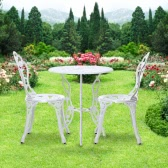 iKayaa 3PCS Modern Outdoor Patio Garden Cafe Table & Chairs Set