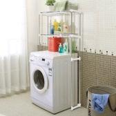 iKayaa Steel 2-layer Metal Bathroom Space Saver Over Toilet Width Extendable Bath Cabinet Storage Utility Shelf Heavy-duty