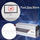 600W(1200W Peak) Pure Sine Wave Power Inverter Household Car Power Converter Charger Adapter DC 12V to AC 220V UK Plug