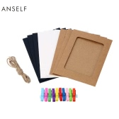 Anself 10pcs/set Retro Style Paper Photo Frame Solid Color Picture Frames with 2 Meters Hemp Rope and Colorful Wood Clips
