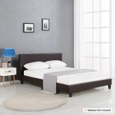 iKayaa Modern Twin Sized Upholstered Linen Platform Bed Frames With Wood Slats Wingback Bed Frame Sponge Padded Brown 200KG Capacity for 99*190cm Mattress