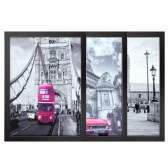 30*40cm French London Scenery Pattern Canvas Prints Removable Wall Picture Art Decal Room Decoration Beautiful Reusable Painting 3 Panels with Frame Housewarming Gift
