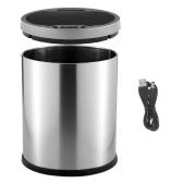 12L Smart Sensor Touchless Trash Can Stainless Steel Ash-bin Garbage Can Dust Bin Trash Bin