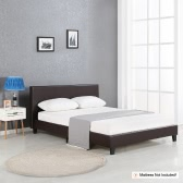 iKayaa Modern Twin Sized Upholstered Linen Platform Bed Frames With Wood Slats Wingback Bed Frame Sponge Padded Brown 200KG Capacity for 99*190cm Mattress